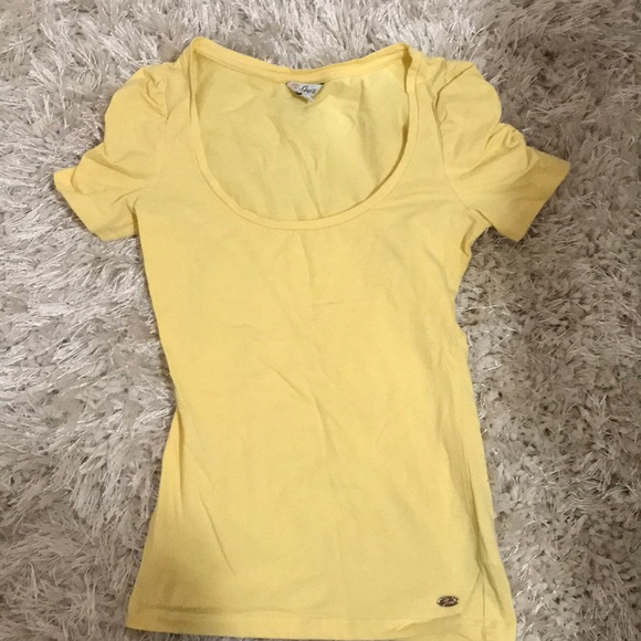 Yellow ruched sleeved top